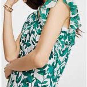 Ann Taylor Floral Flutter Sleeve Top